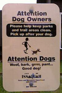 bilingual (English/Dog) park sign
