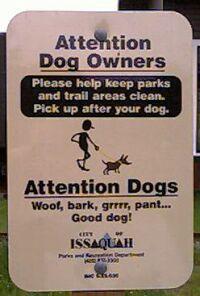 bilingual (English/Dog) park sign