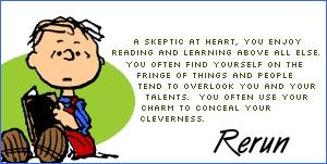 Rerun: A skeptic at heart, you enjoy reading and learning above all else. You often find yourself on the fringe of things and people tend to overlook you and your talents. You often use your charm to conceal your cleverness.
