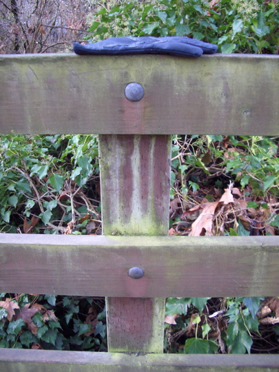 glove on fencepost