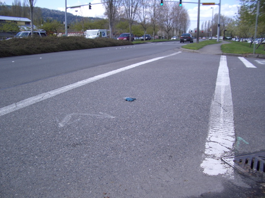 blue glove in the middle of a crosswalk