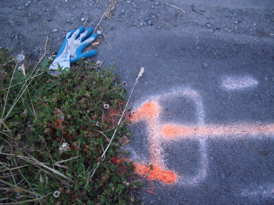 glove in rough with spray painted pavement