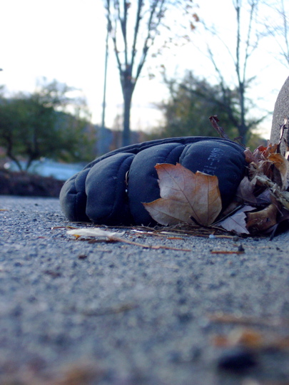 puffy gore tex winter glove and fallen leaves along curb