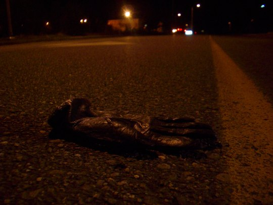 glove in the middle of the road at night