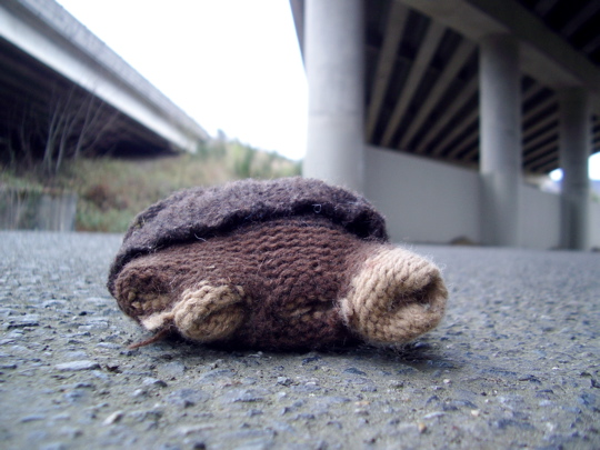 inside-out glove under a freeway overpass