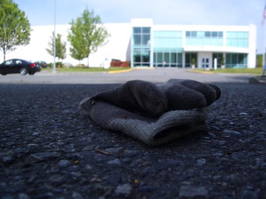 glove across the street from a sunlit high-tech building