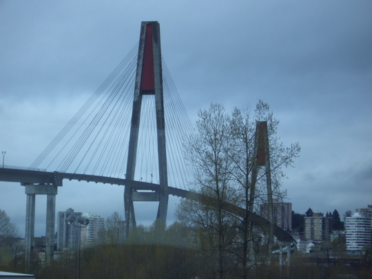 light rail bridge over the Fraser River in Vancouver, BC