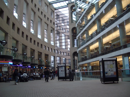 indoor courtyard outside the entrance to the Vancouver Public Library