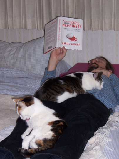 two cats lounging on a man on his back reading a book